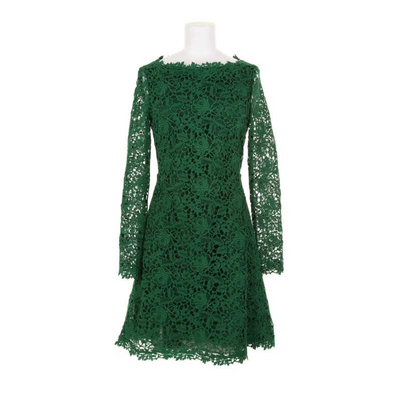 green lace dress dressed up girl