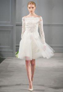 Long Sleeve Short Wedding Dress