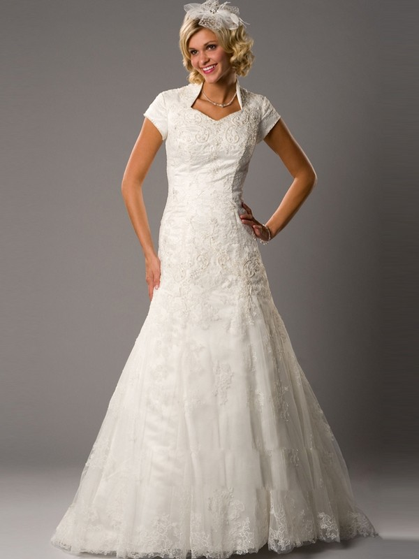 Modest wedding dresses dressed up girl for Lds wedding dresses lace