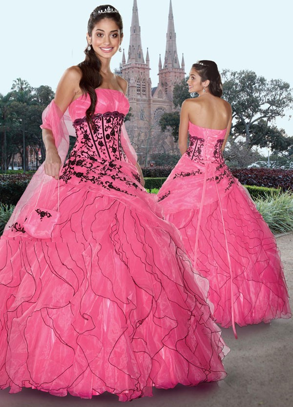 Pink quinceanera dresses dressed up girl for Black and pink wedding dress