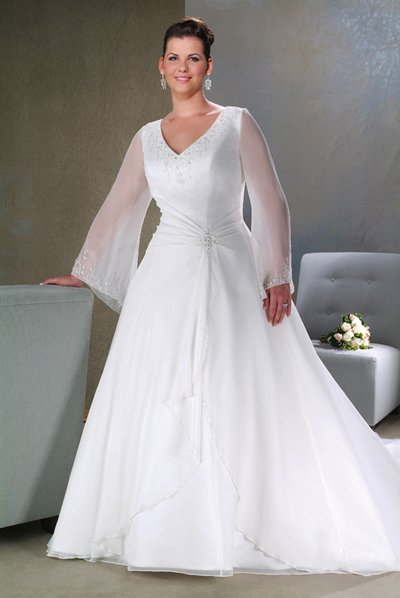 Long sleeve wedding dresses dressed up girl for Long sleeve plus size wedding dress