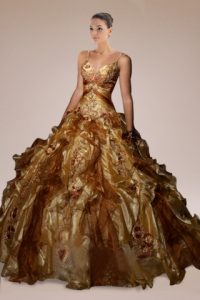 Quinceanera Gold Dress