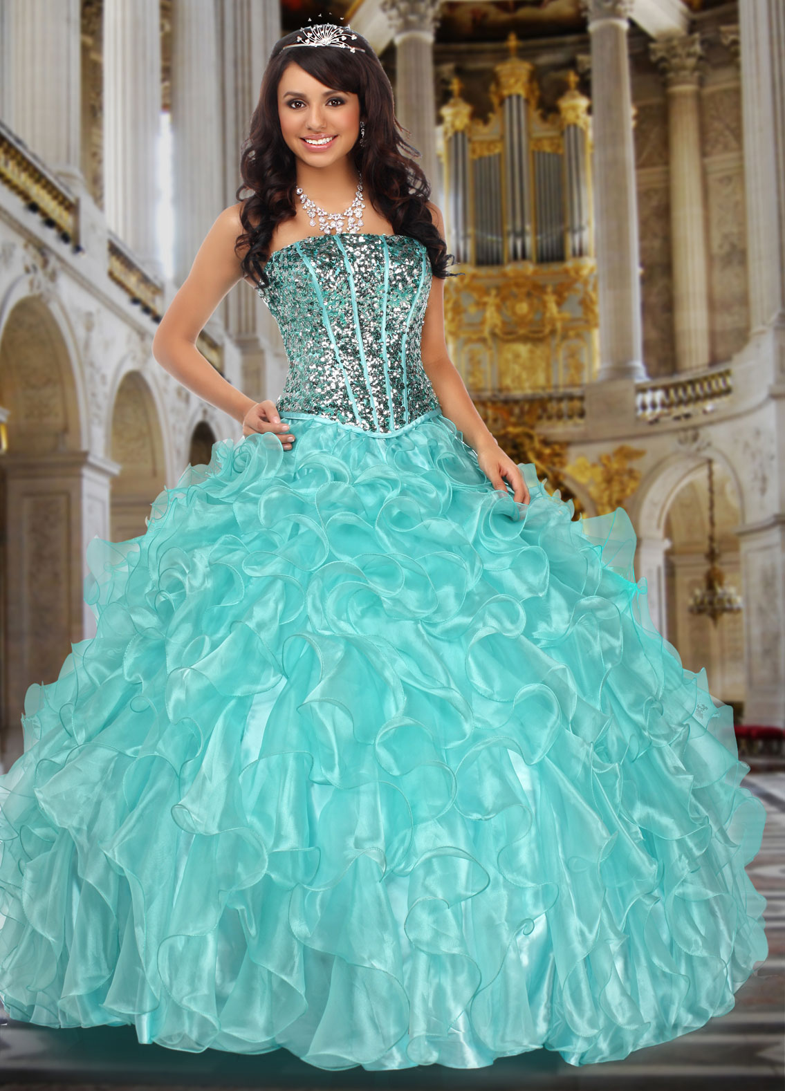 Light Teal Quincenera Dresses