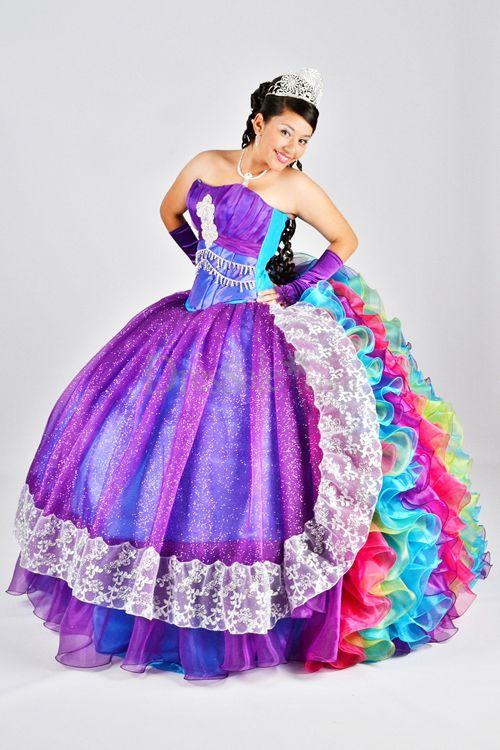 Rainbow Quinceanera Dresses Dressed Up Girl