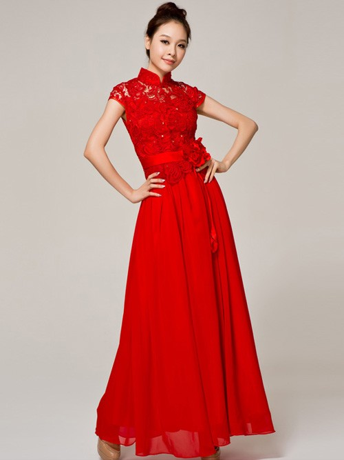 Red wedding dresses dressed up girl for Asian red wedding dresses