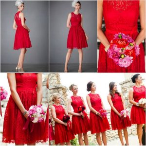 Red Lace Bridesmaid Dress