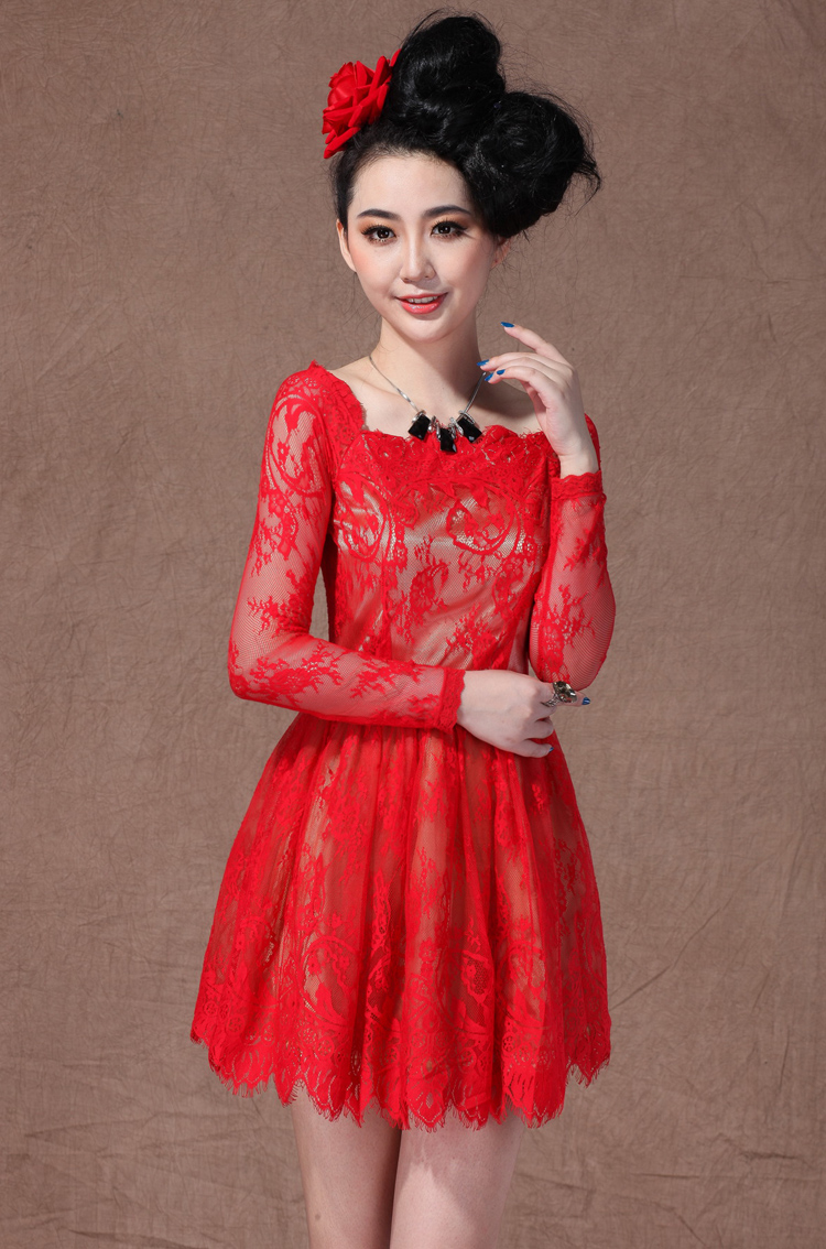 Red Lace Dress Dressed Up Girl