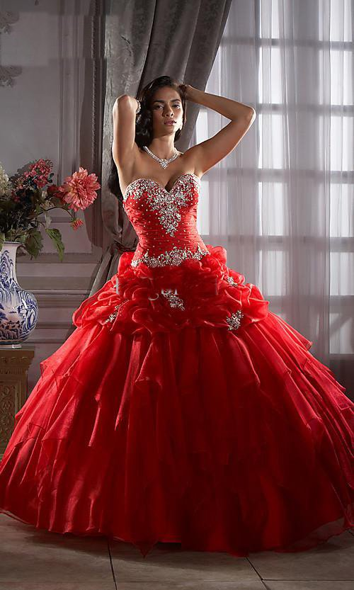 Red Quinceanera Dresses Dressed Up Girl