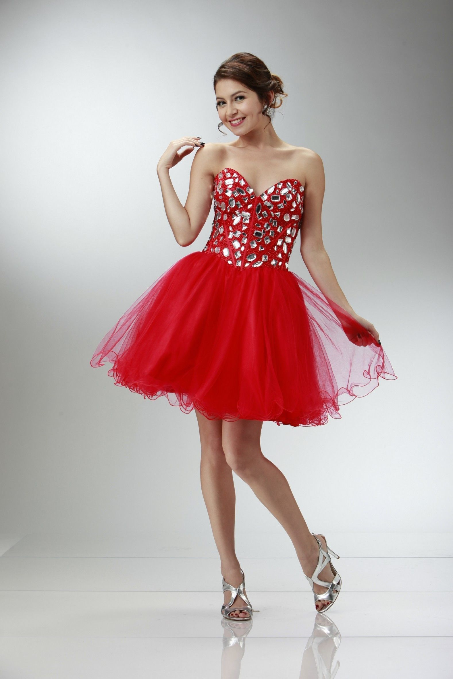 Prom red short dresses with straps catalog photo