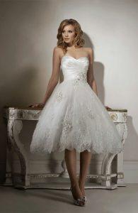 Short Strapless Wedding Dress