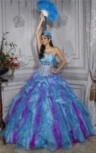 Turquoise and Purple Quinceanera Dresses