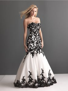 Wedding Dress with Black Lace