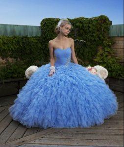 Wedding Dress with Blue