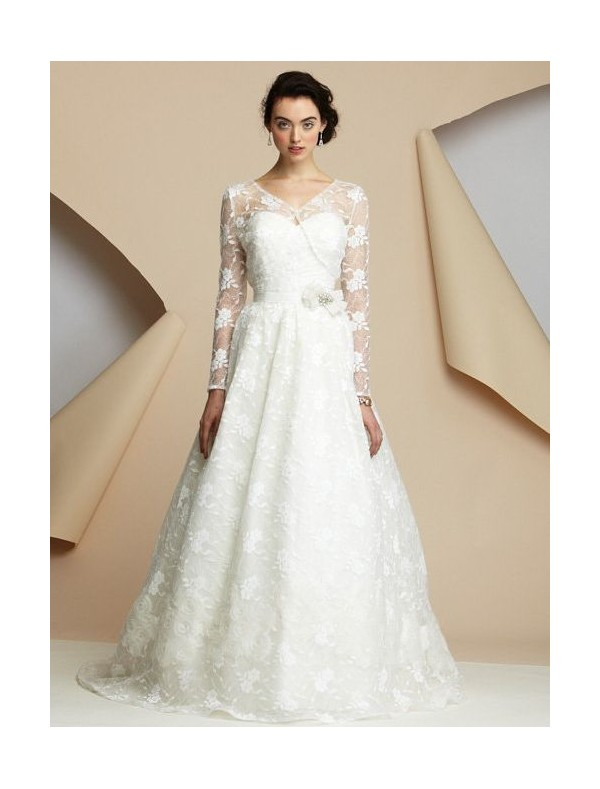 Long sleeve wedding dresses dressed up girl for Long sleeve lace wedding dresses