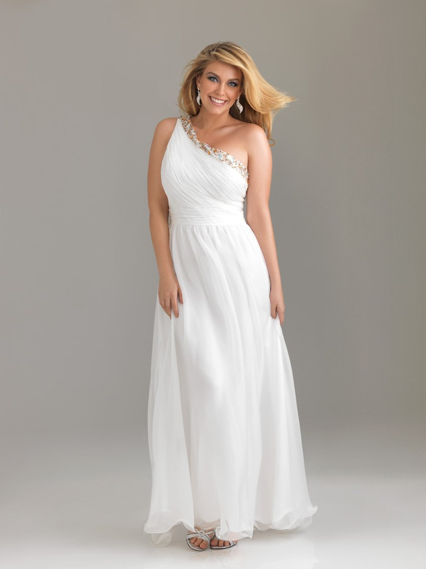 Plus Size White Prom