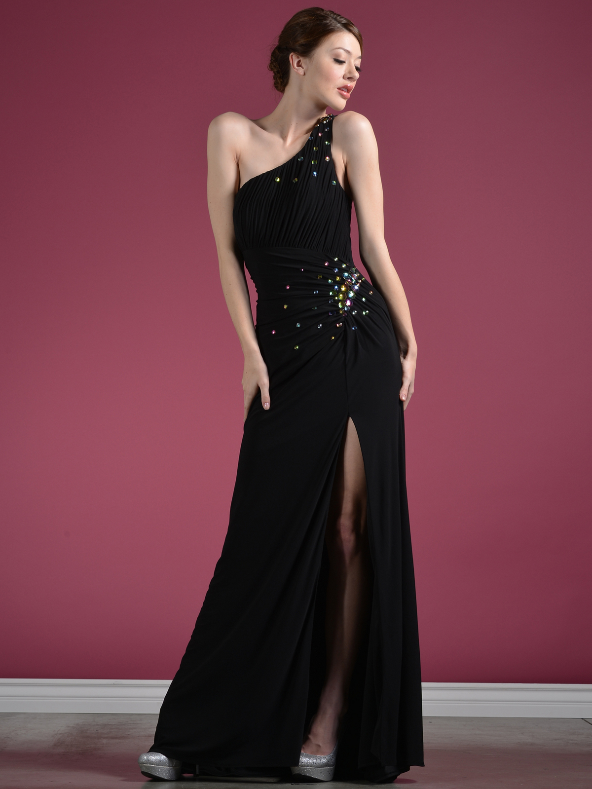 one shoulder evening gown by flirt