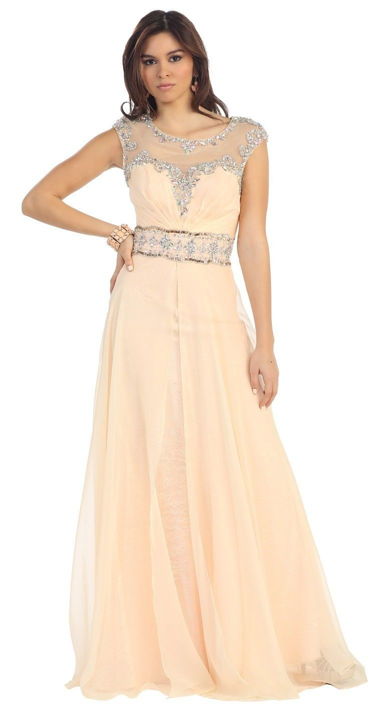 Peach Cap Sleeve Prom Dresses