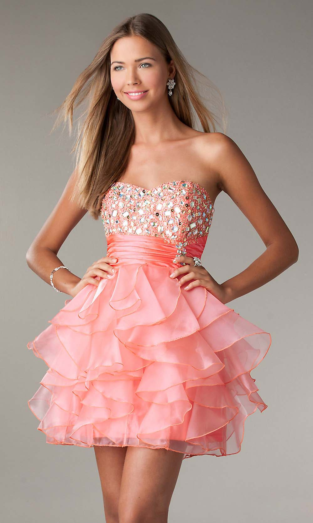 Short Coral Prom Dress | Dressed Up Girl