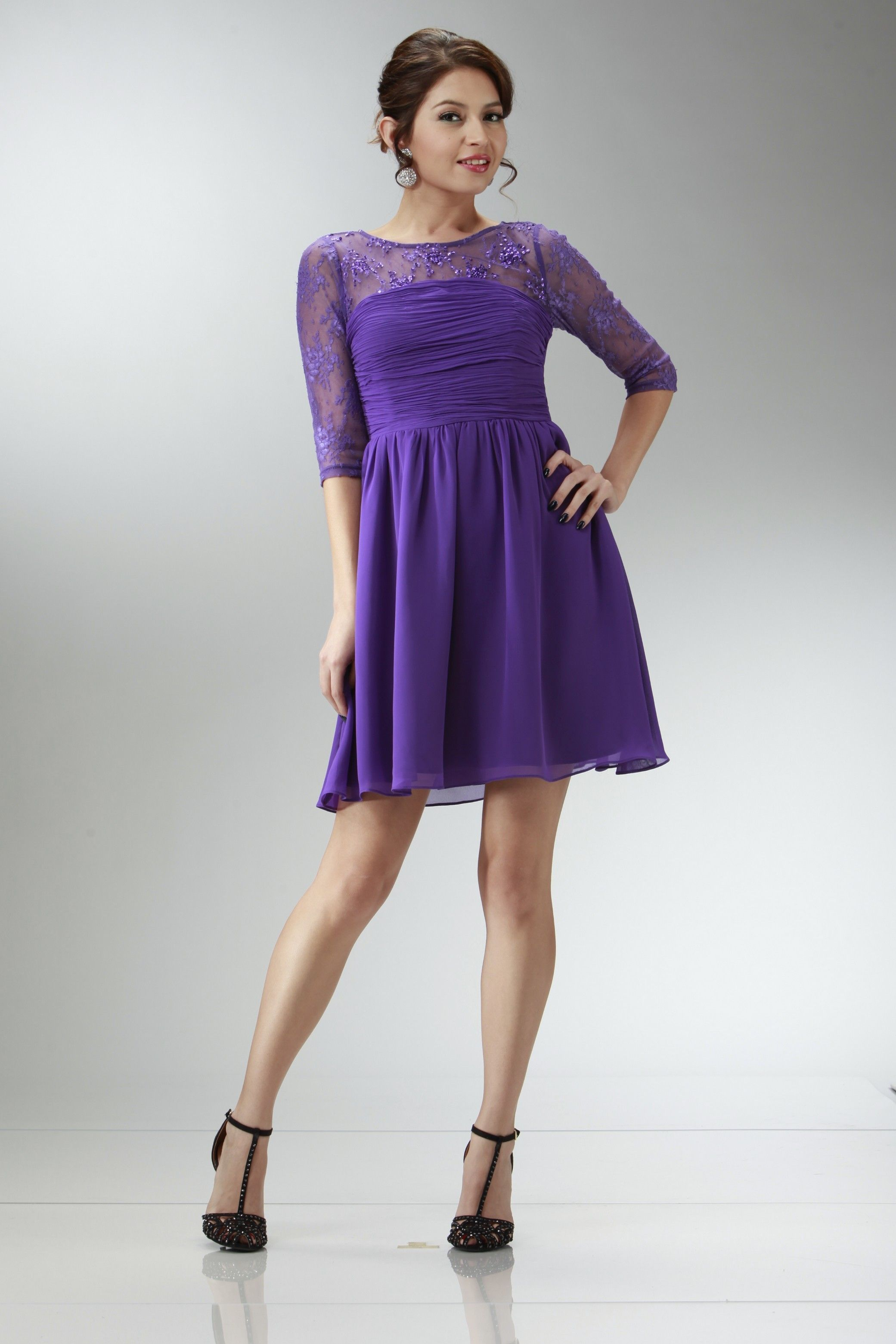 formal short dress with sleeves