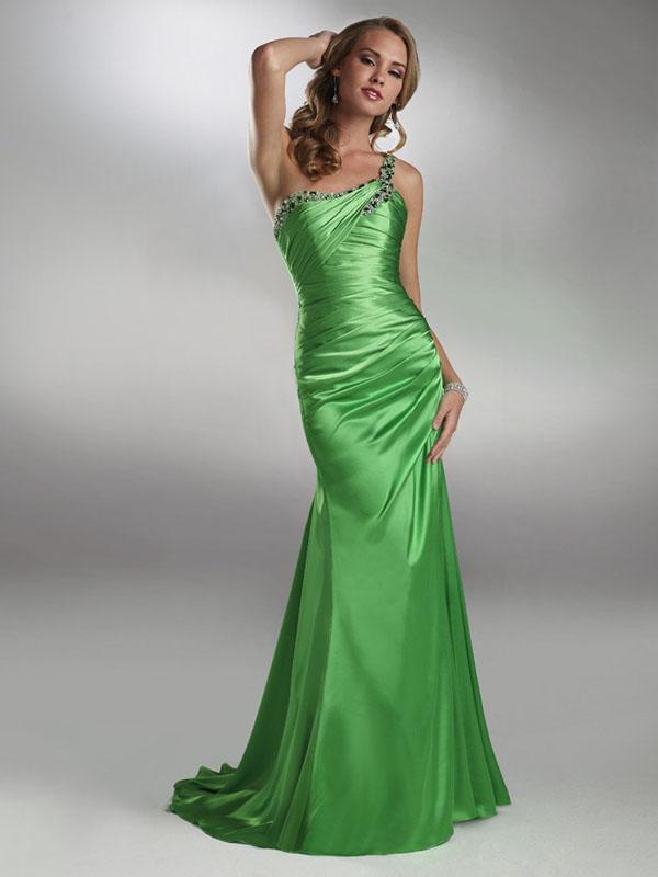 one shoulder chiffon long prom dress