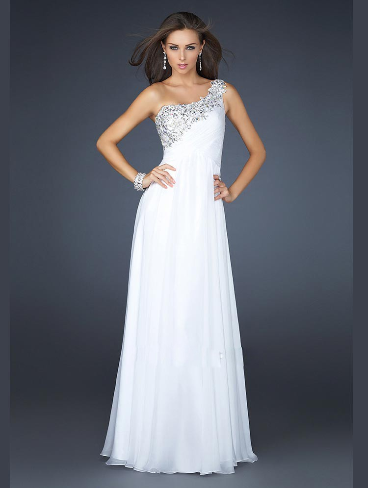 White One Shoulder Prom Dresses - Long Dresses Online