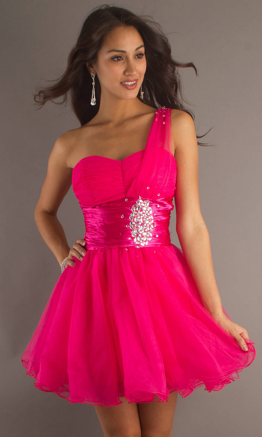 Pink Short One Shoulder Dress