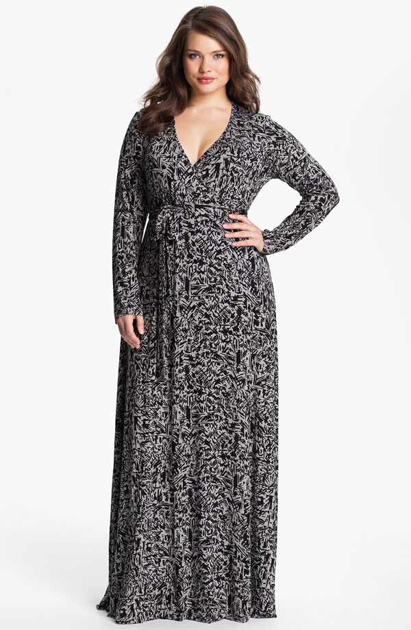 PLUS SIZE MAXI DRESSES WITH SLEEVES - Kapres Molene