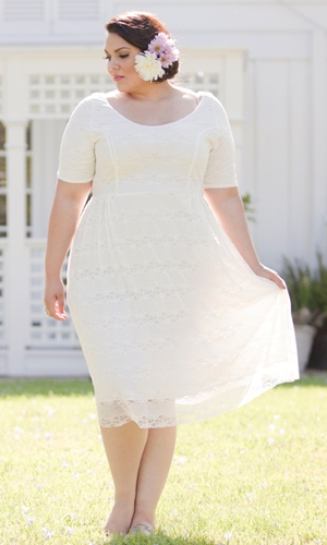Plus Size White Dress Dressed Up Girl