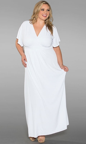 PLUS SIZE WHITE MAXI DRESS - Kapres Molene