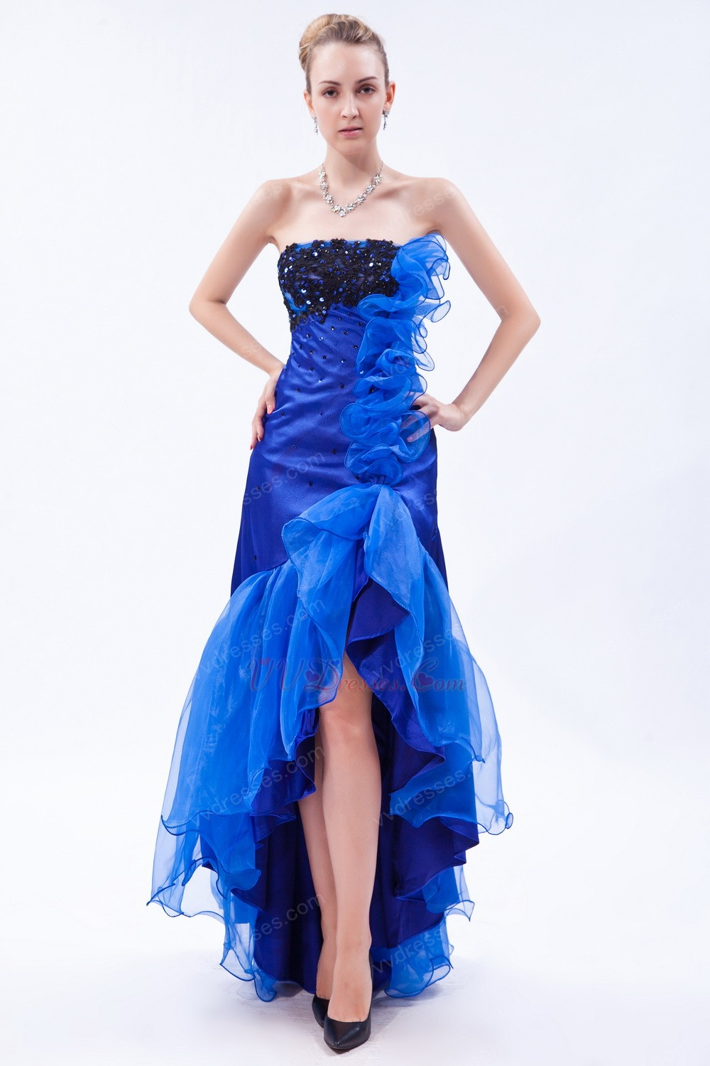 Blue prom dresses dressed up girl for Blue and black wedding dresses