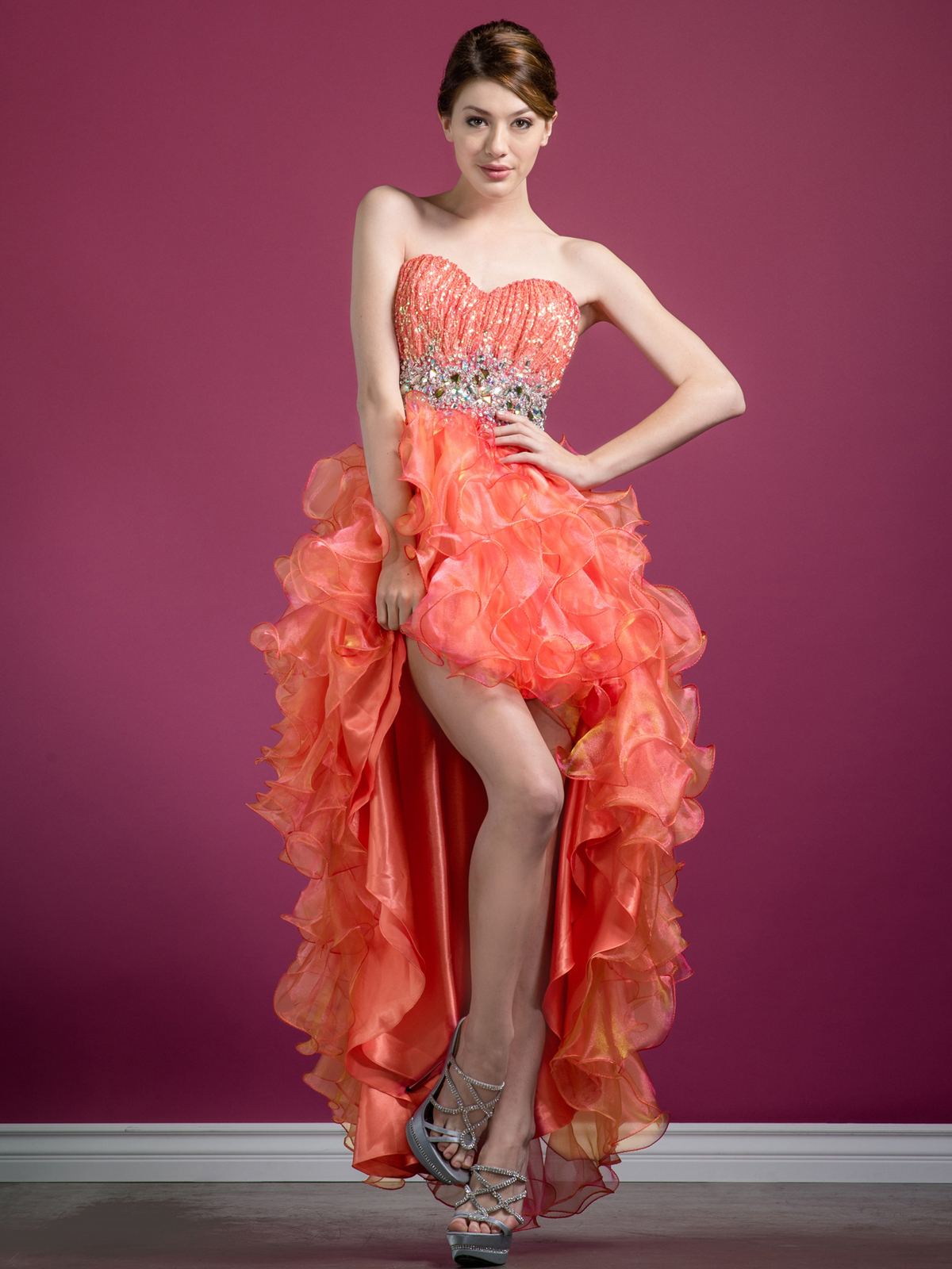 Coral High Low Prom Dresses 2015