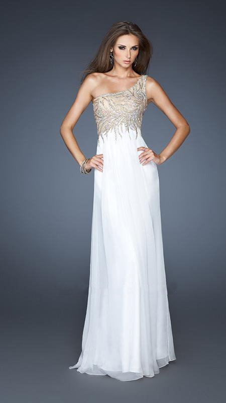 White One Shoulder Formal Dresses