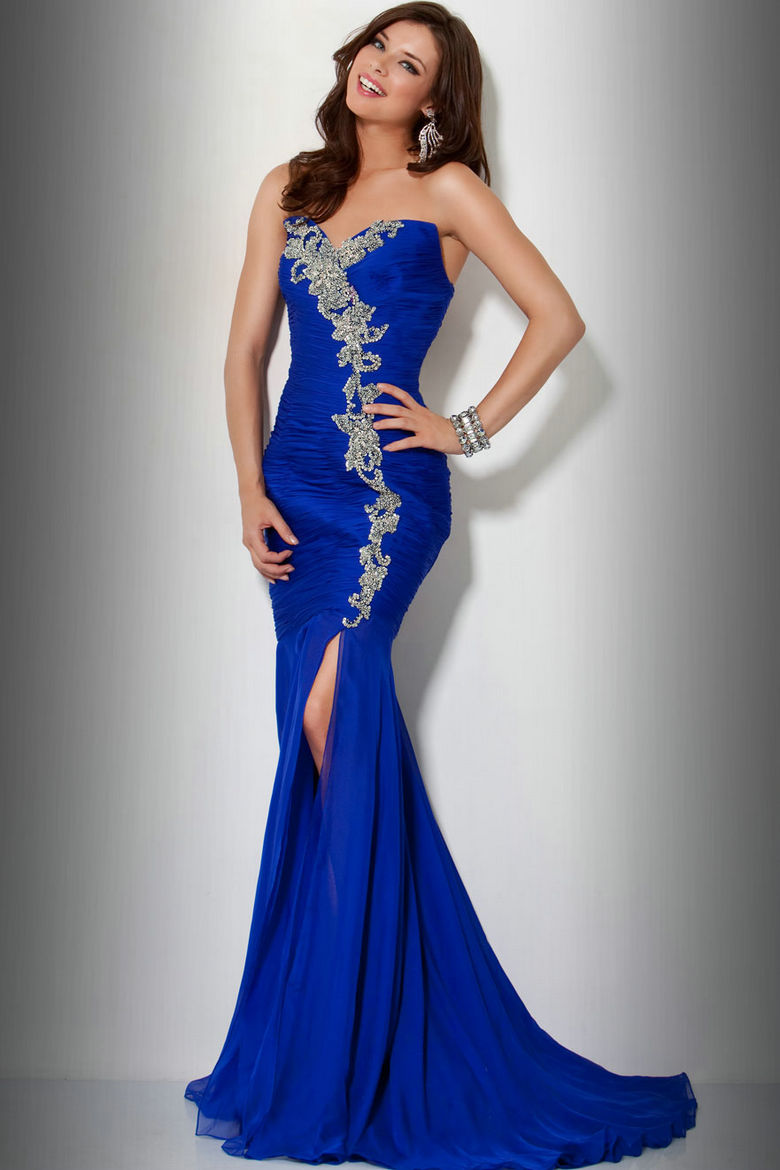 Blue prom dresses dressed up girl for Royal blue and silver wedding dresses