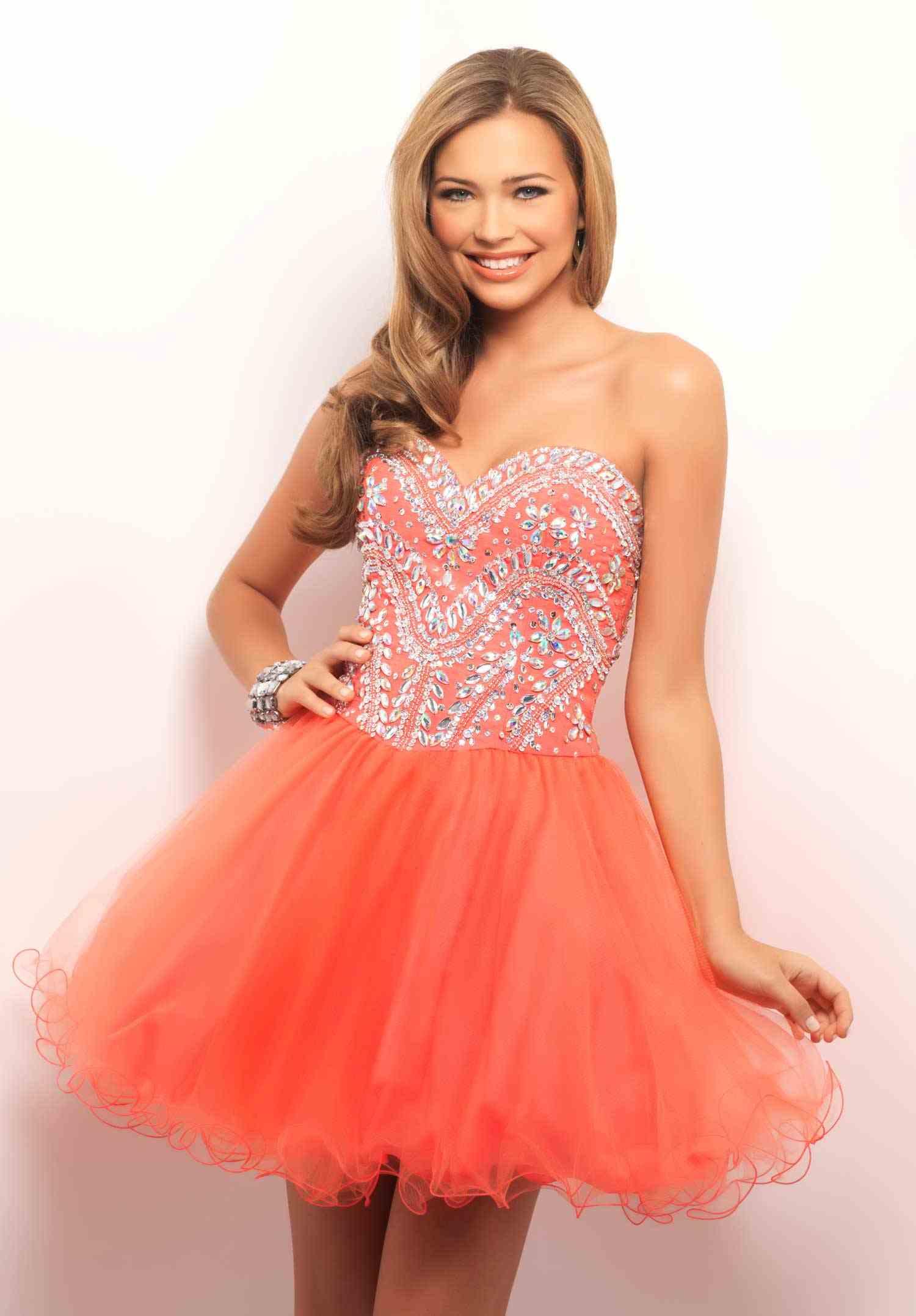 Short Coral Prom Dress Dressedupgirl Com