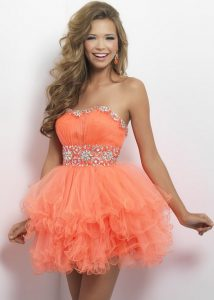 Short Coral Prom Dresses