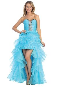 Turquoise High Low Prom Dress