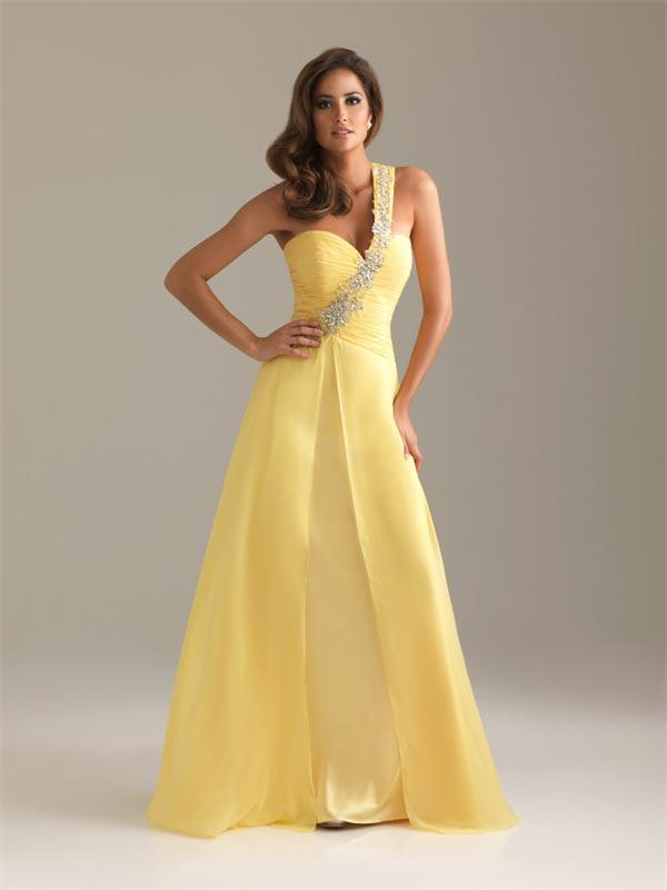 37e0fde87bc Yellow One Shoulder Prom Dress