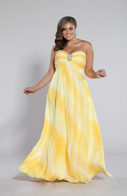 Yellow Plus Size Prom Dresses 4