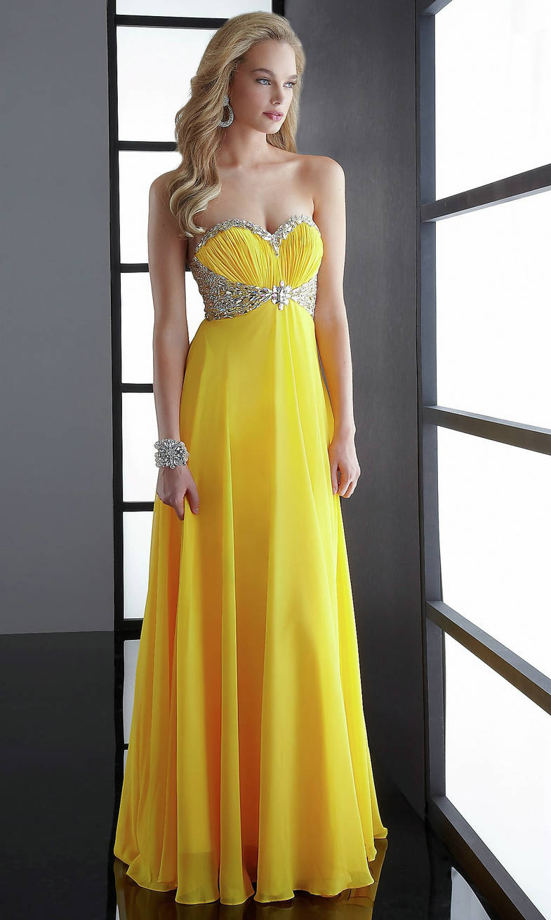Yellow Cheap Prom Dresses 36