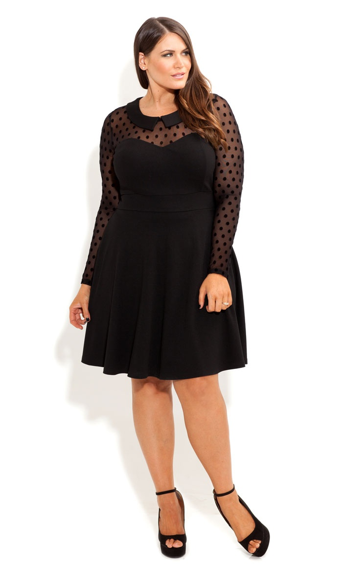 Fashion week Lace Black skater dress plus size pictures for woman