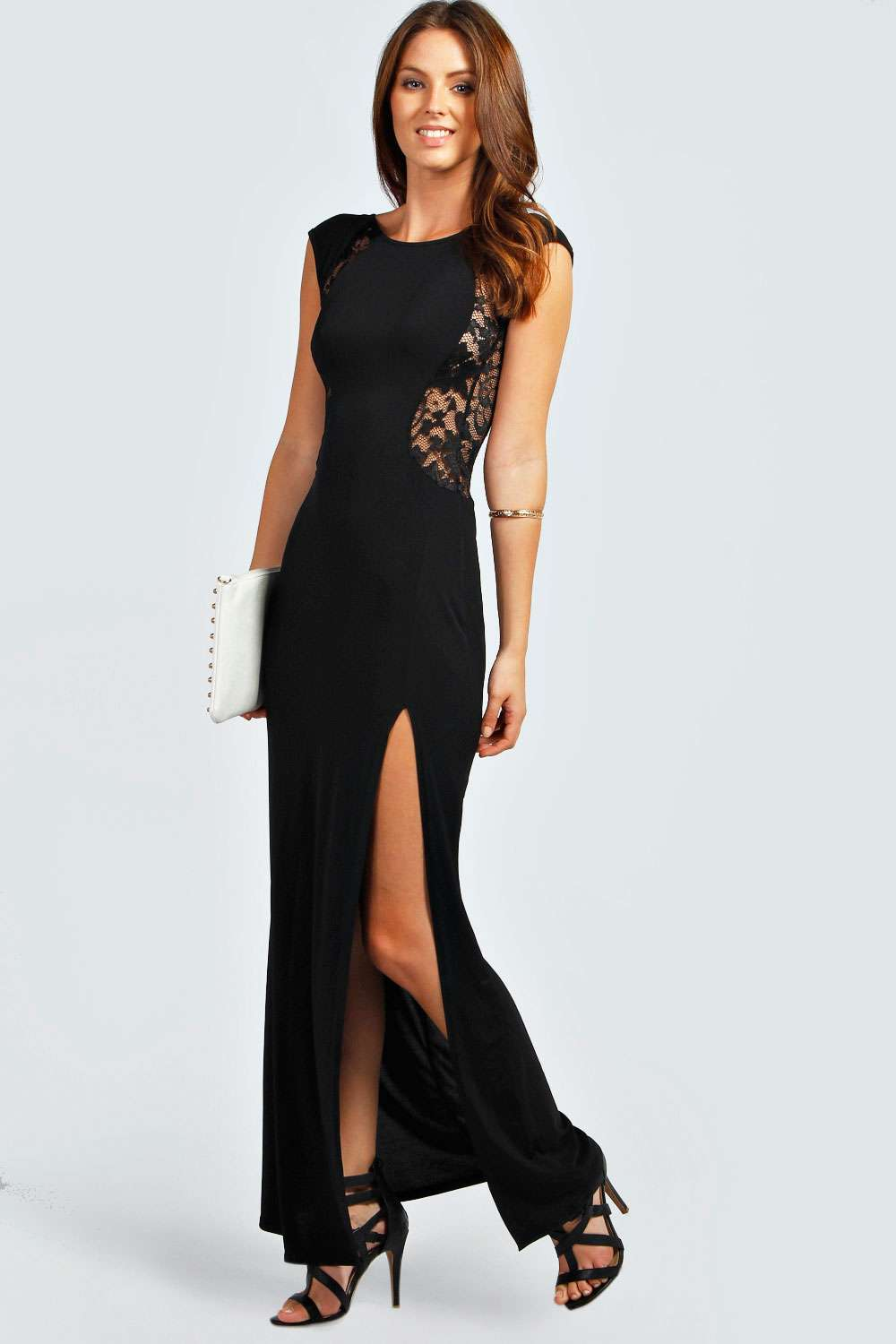 Side Slit Cape Sleeve Black Maxi Dress on sale only US$ now, buy cheap Side Slit Cape Sleeve Black Maxi Dress at missionpan.gq
