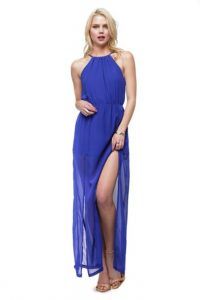 Blue Halter Maxi Dress