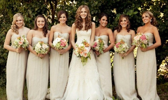 Champagne Long Bridesmaid Dresses