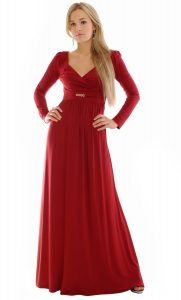Long Sleeve Red Maxi Dress