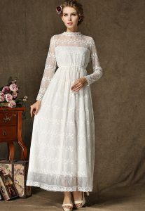 Long White Lace Maxi Dress