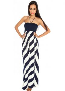 Navy and White Maxi Dress