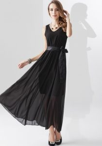 Plain Black Maxi Dress