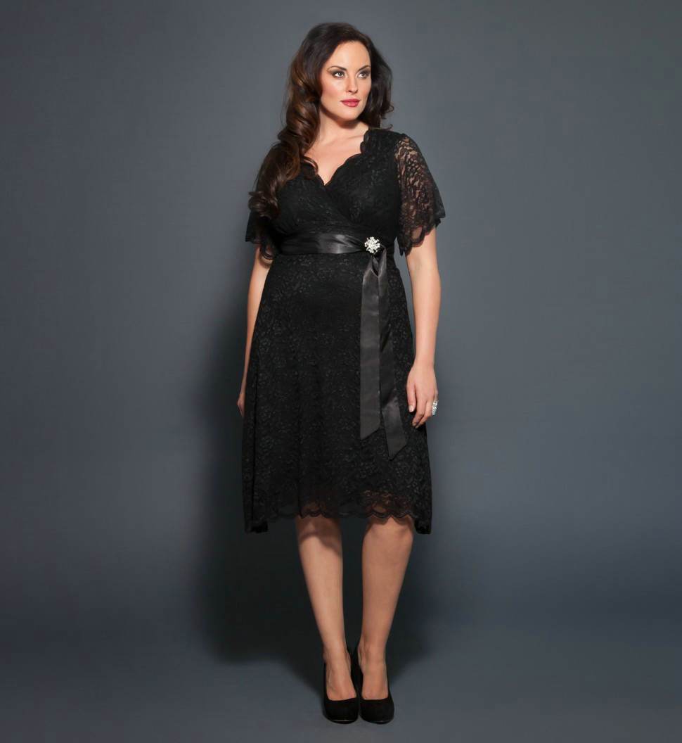 Stunning Black Plus Size Dress With Sleeves Pictures ...