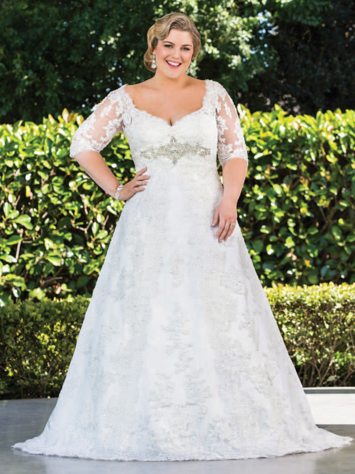 Plus size wedding dresses with sleeves dressed up girl for Wedding dresses for larger sizes