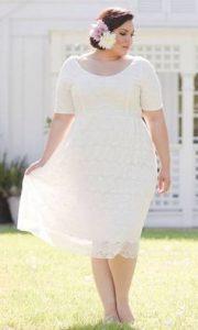 Plus Size Tea Length Wedding Dresses with Sleeves